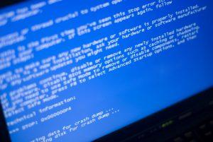 incident informatique, écran bleu
